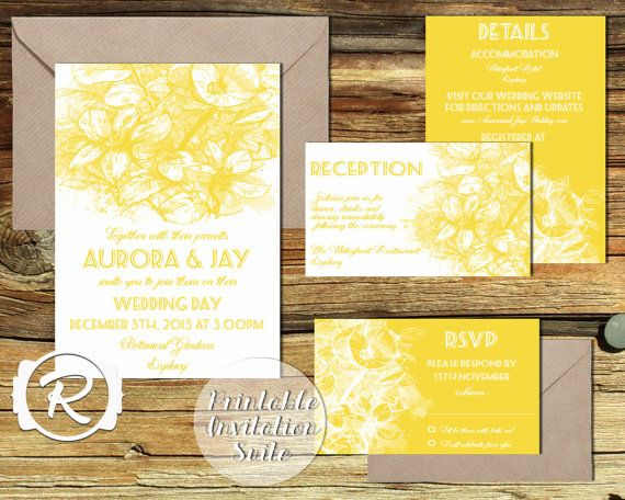Printable Wedding Invitation Suite Floral by RubyRidgeStudios - Bright Yellow