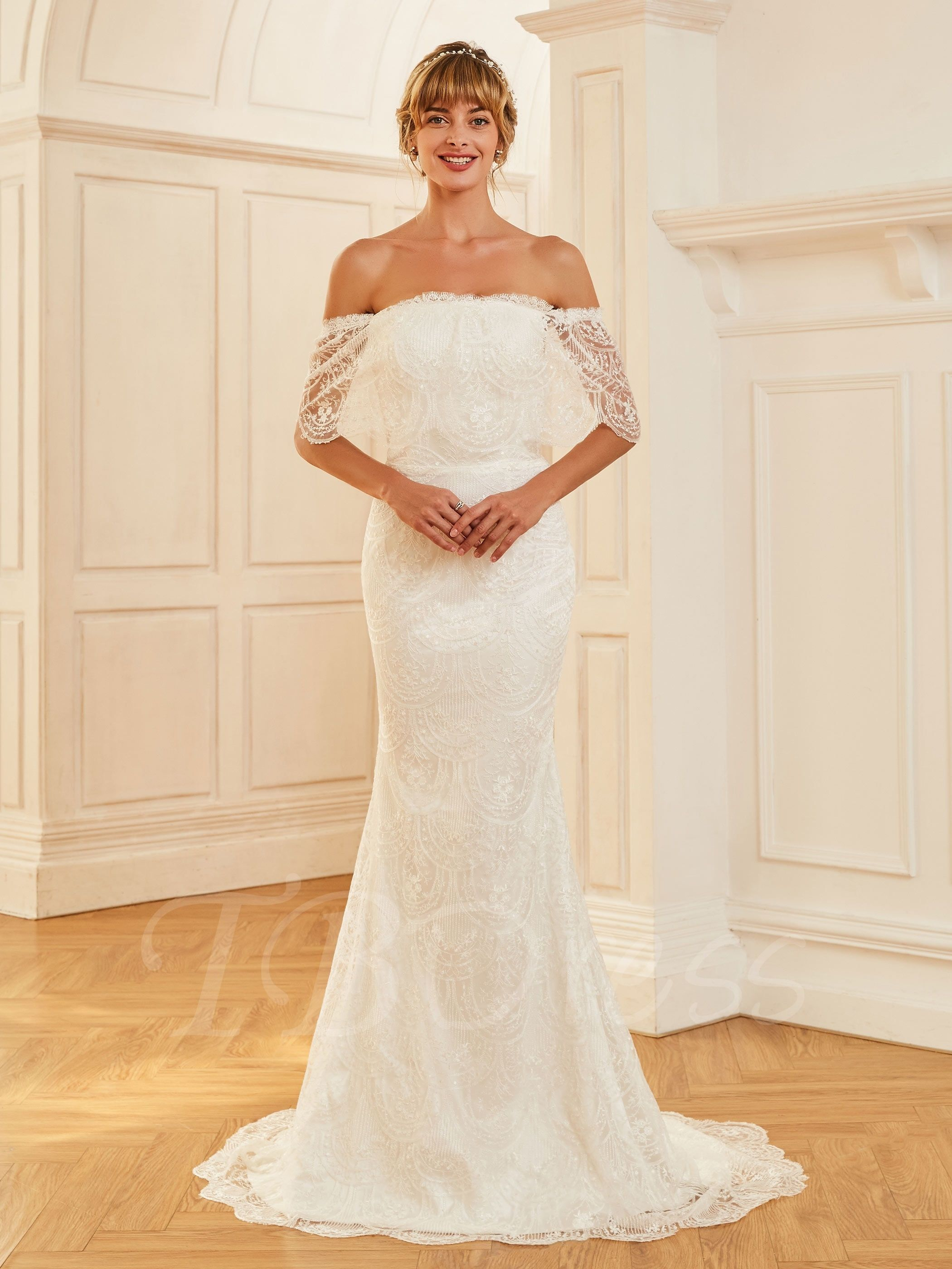 Off the shoulder half sleeves lace mermaid wedding dress mtbdress