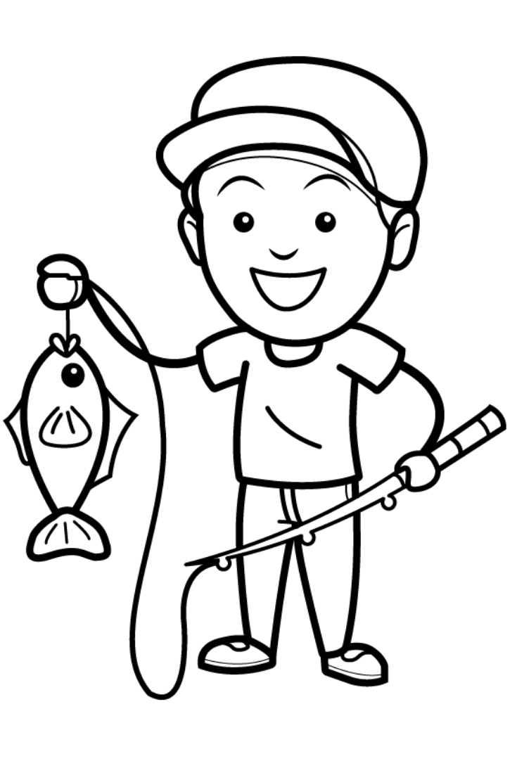 How to Draw a Glitter Fishing Coloring Page for Kids ...