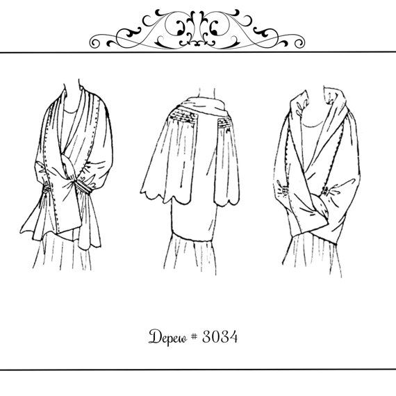 Vintage Sewing Pattern 1930s Evening Wraps or Capes #3033 -INSTANT ...