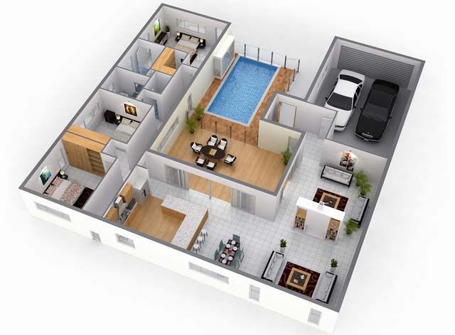 3d three bedroom home floor plans with pool Casa El Valle - wohnzimmer planen 3d