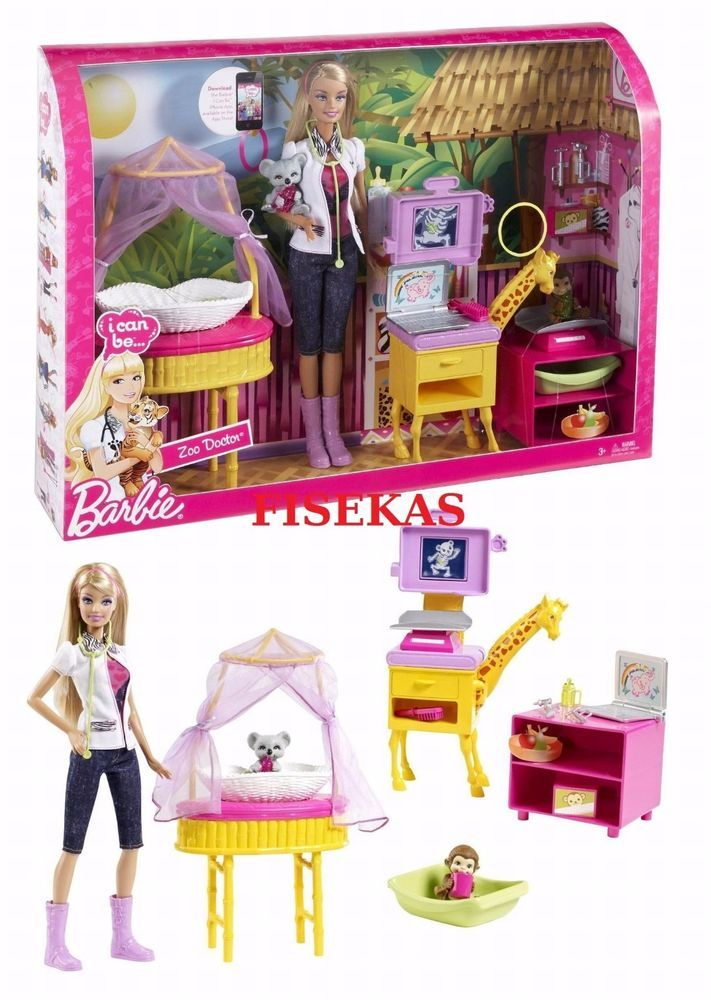 Barbie I Can Be Zoo Doctor Baby Animals Vet Playset 2010 Doll