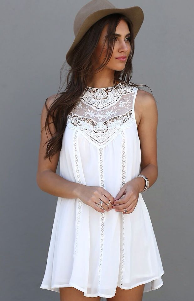 bc67b1bf631 Summer Casual Sleeveless Lace Patchwork - Mini Sundress White - Trendy  Closet Shop White Tank Dress