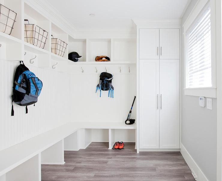 Family Friendly Mudroom Room Is Equipped With An L Shaped Bench