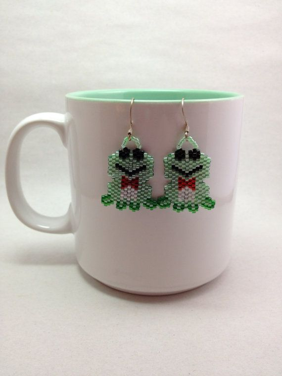 Frog Brick Stitch Earrings by BeadingBeeCreations on Etsy, $12.00