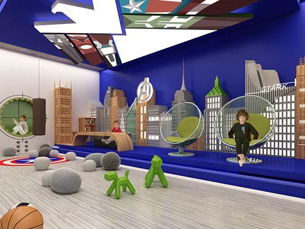 Dise o de interiores de un cuarto de juegos para ni os inspirado en los avengers en una casa - Juego de diseno de interiores ...