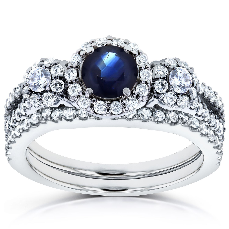 Annello by Kobelli 14k White Gold 1 1/5ct TCW Sapphire and Diamond 2 Piece Bridal Rings Set (Size 9), Women's, Blue