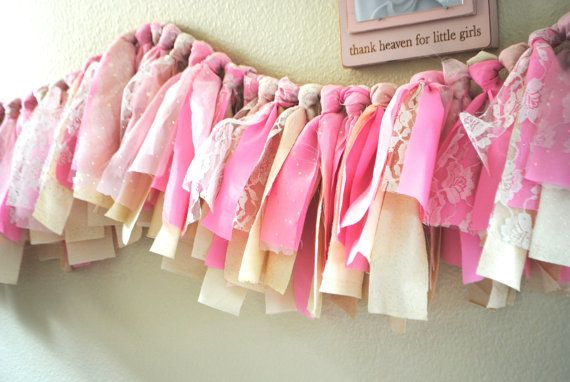 Pink and Gold Fabric Tassel Banner/ or High Chair Tutu