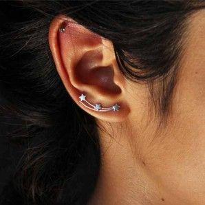 boucles d/'oreilles en trois étoiles argenté mariage de bijoux petite oreille.