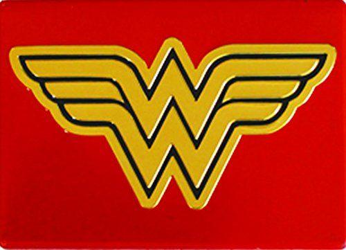 Licenses Products DC Comics Originals Wonder Woman Metal Magnet Logo 2.5 x 3.5 Red @ niftywarehouse.com