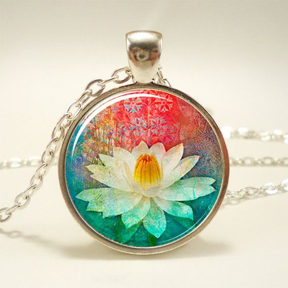 Lotus Blossom Necklace Zen Yoga Jewelry Buddhist Charm by rainnua, $14.45