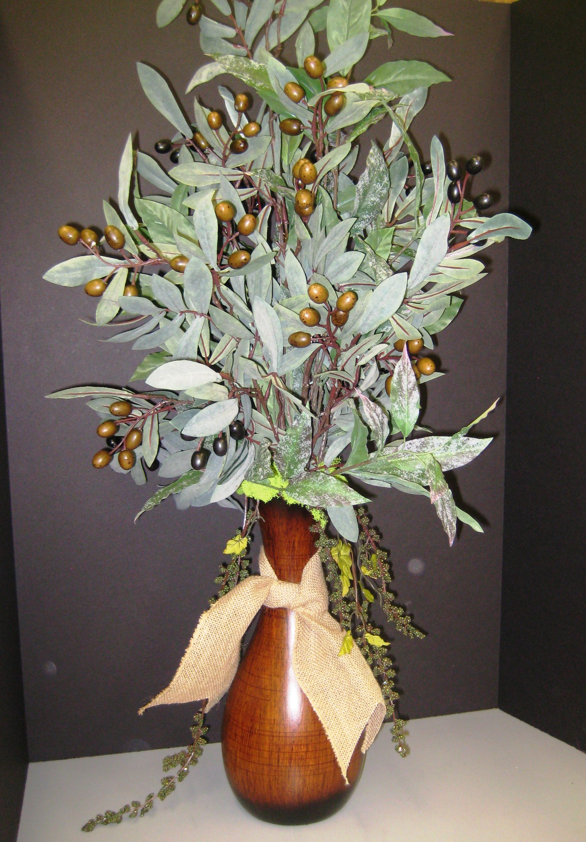 Tuscan Olive Greenery Arrangement Perfect For The Kitchen  By Christina  Villasenor