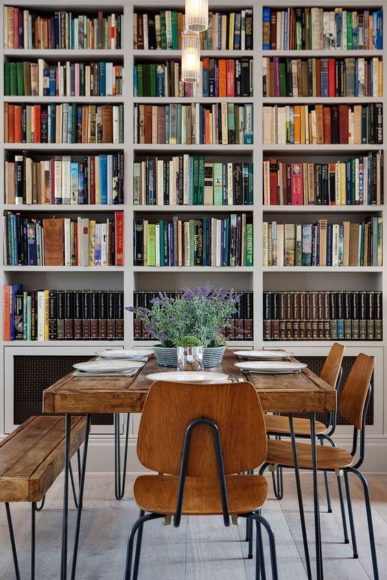 The Cure For The Formal Dining Room  Room Living Rooms And Books Impressive Living Room Library Design Design Decoration