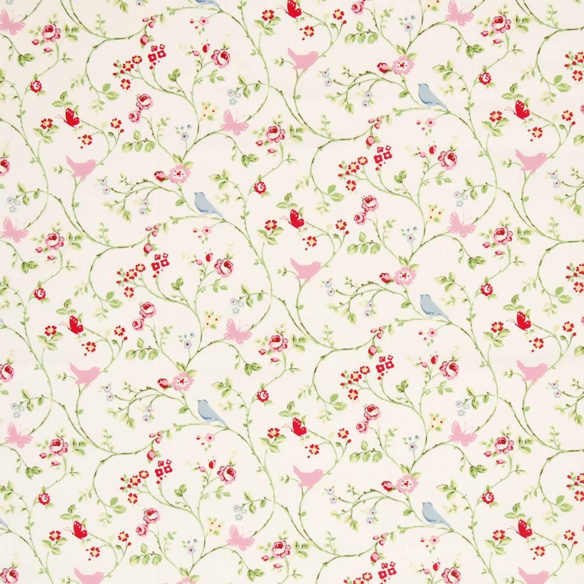 Kitchen Curtains Fabric Vintage Kitchen Fabric Chintz: Floral Curtains, Fabric Birds, Curtain Fabric