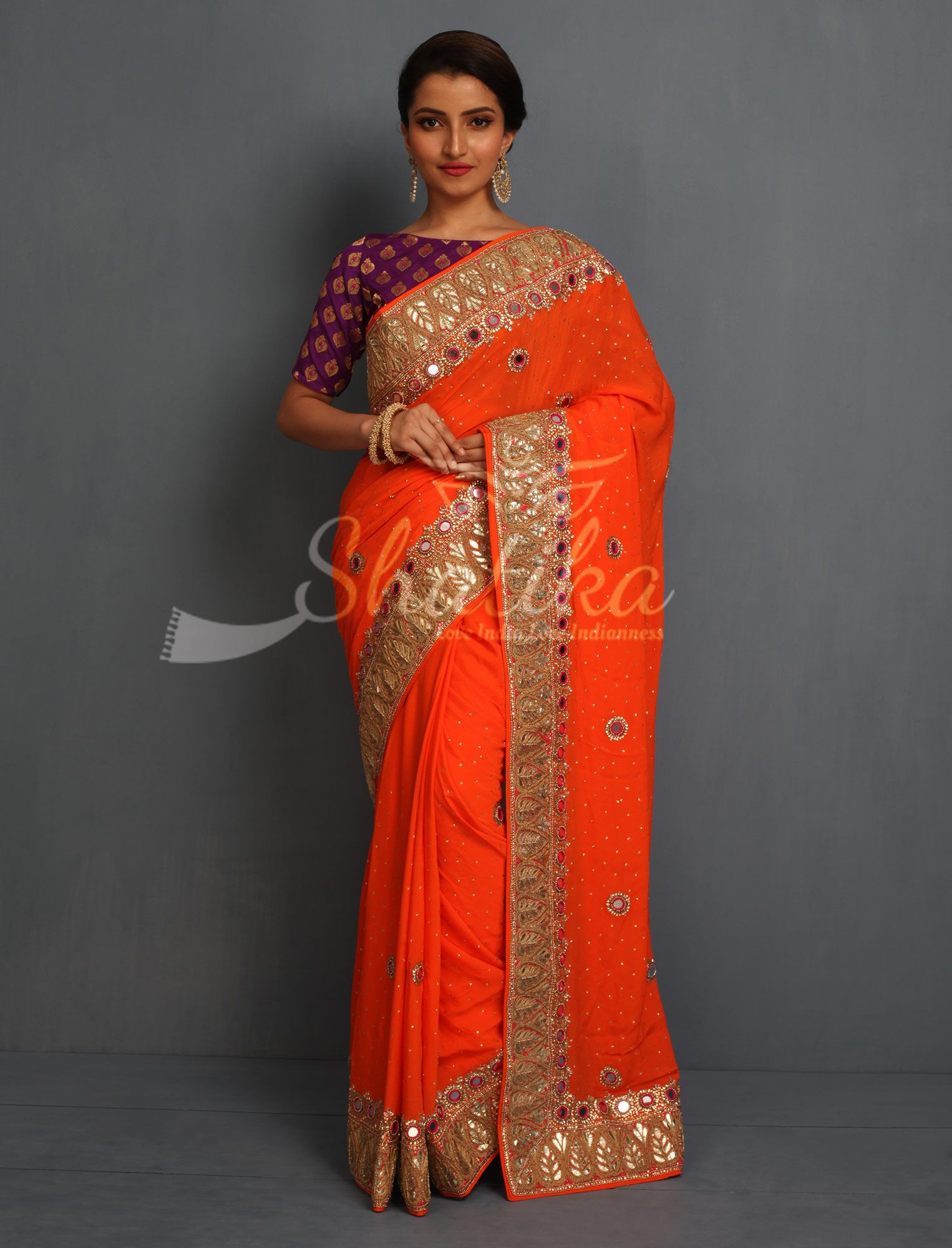 424026ce58822c Kashmaira Firebolt Mirror And Gold Thread Dazzling Rajasthani Gota Patti  Saree