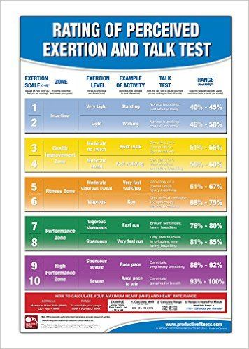 Rating of Perceived Exertion Chart\/Poster; RPE Poster - Talk Test - rate chart