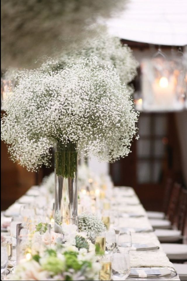 Baby\'s breath flowers with lil candles inexpensive way to decorate ...