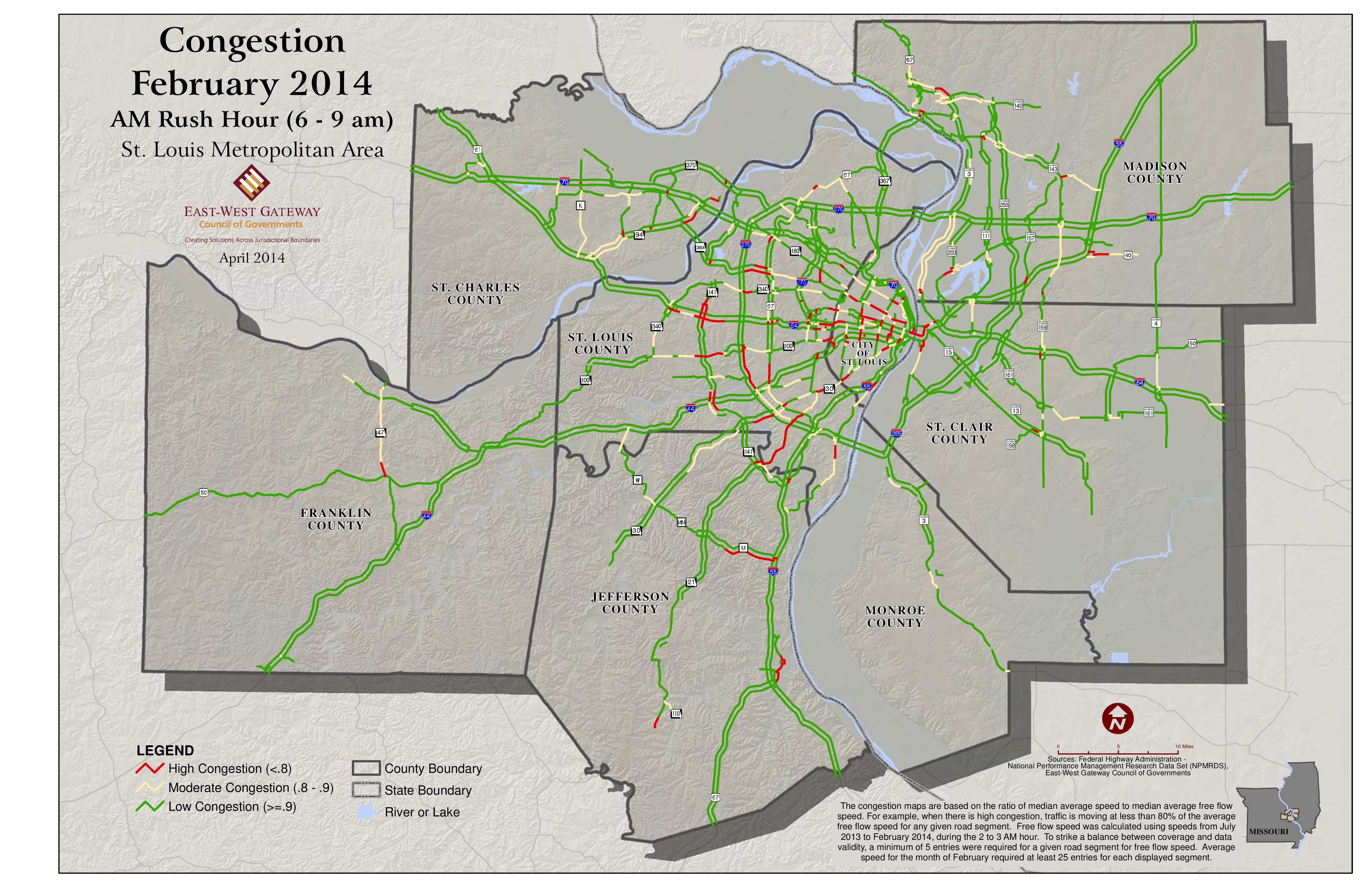 Traffic Map St Louis.Traffic Congestion February 2014 Am Rush Hour Historical And