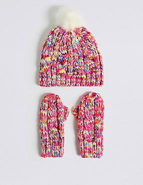 4b744e0f834b4 Kids  Pom Pom Hat   Mittens Set