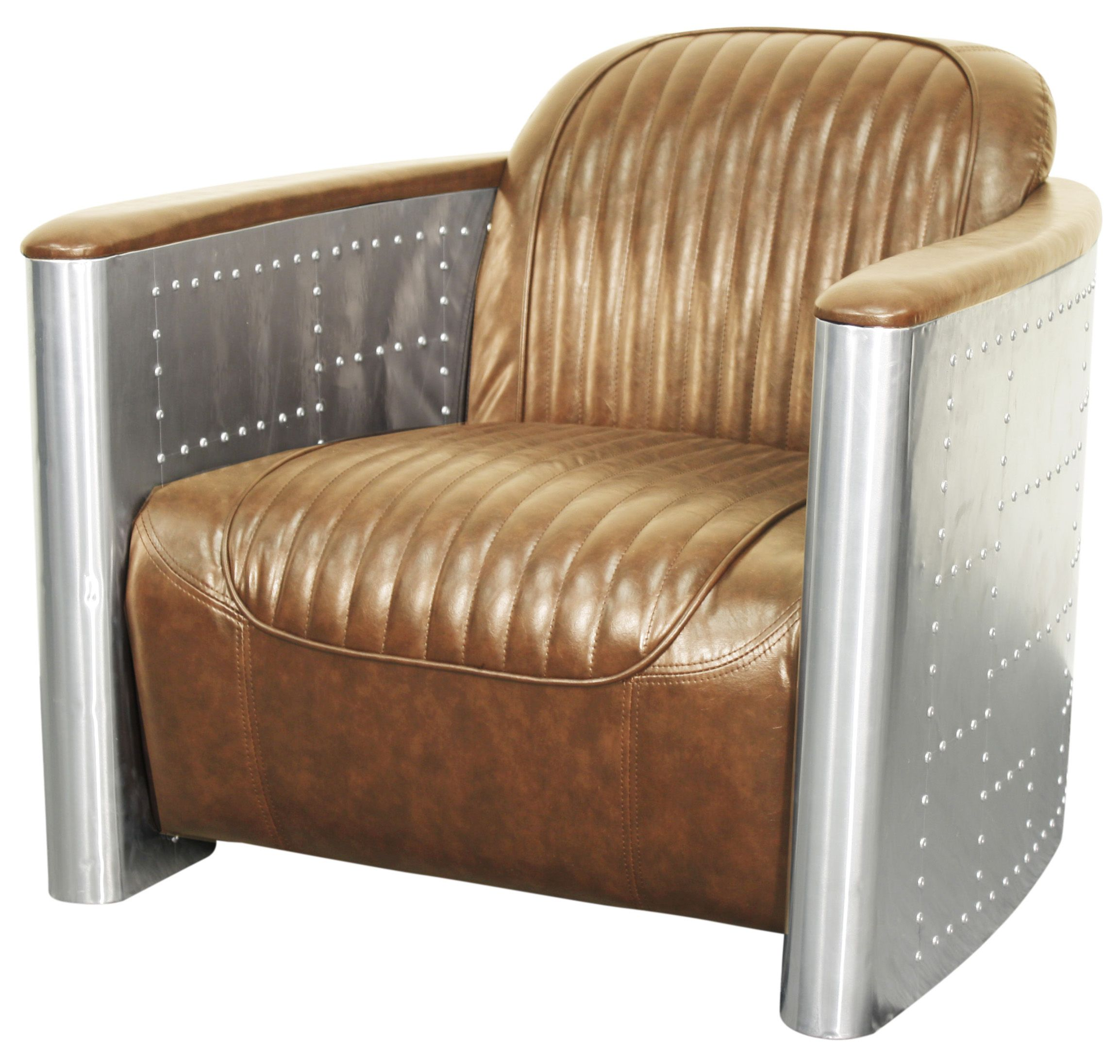 Easton PU Accent Chair in Aluminum Frame in Distressed Caramel