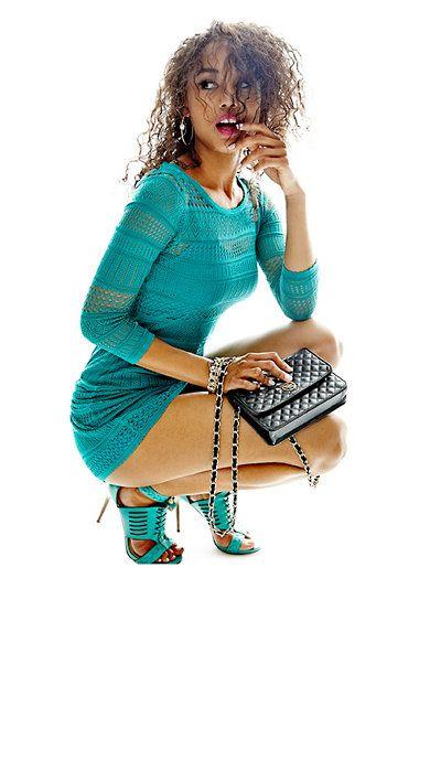 Super sexy! #GUESS   Three-Quarter Sleeve Flutter Sweater Dress   $108.00