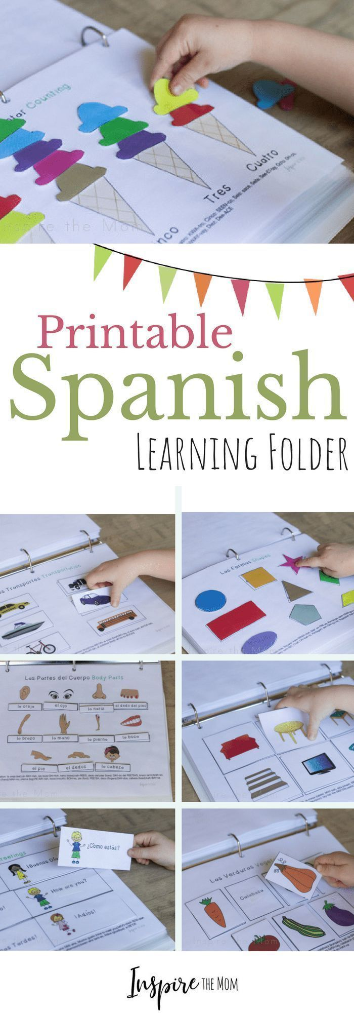 Printable Spanish Interactive Learning Folder - Inspire the Mom