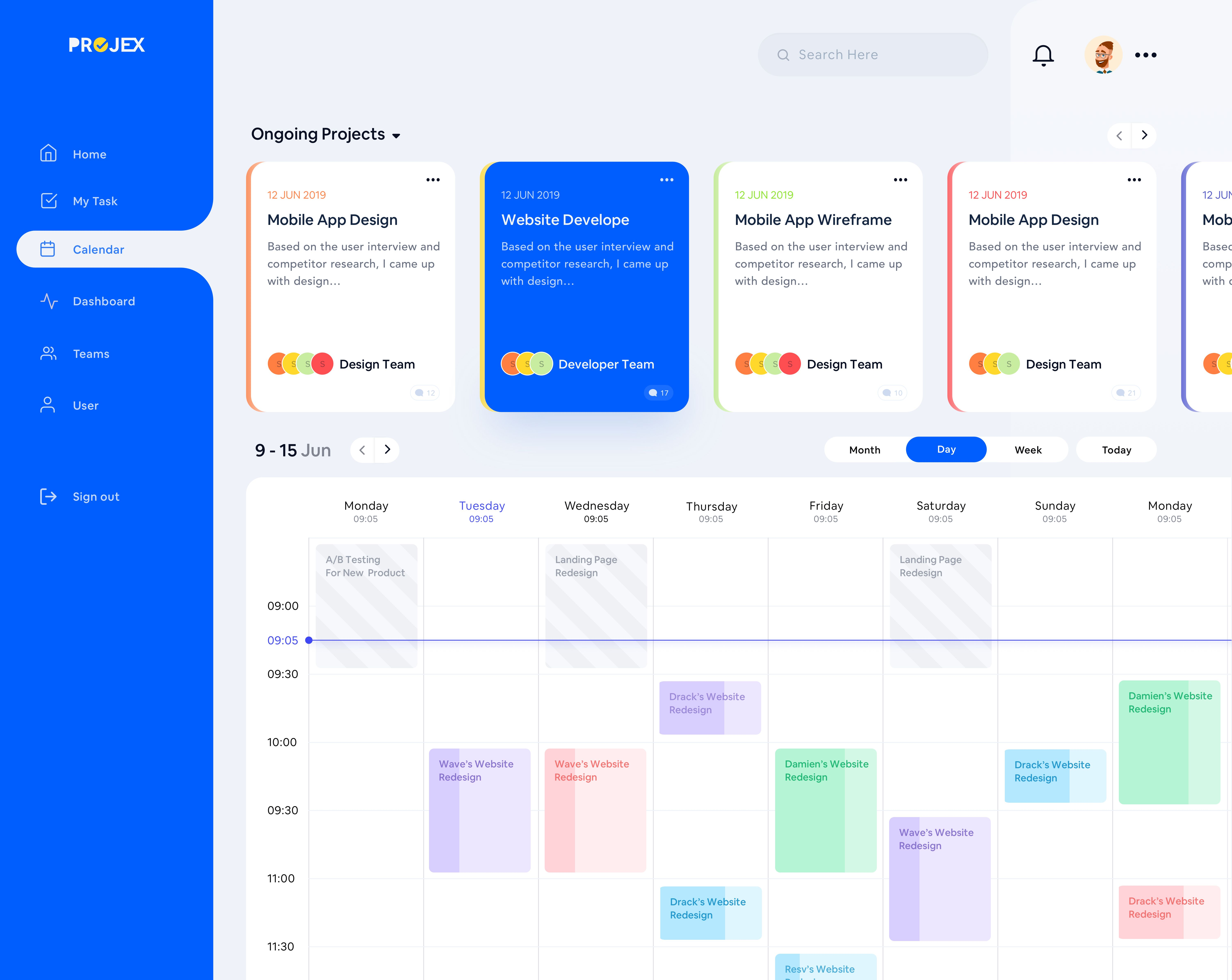 Project Management Calendar Web App Design Web Design App Design