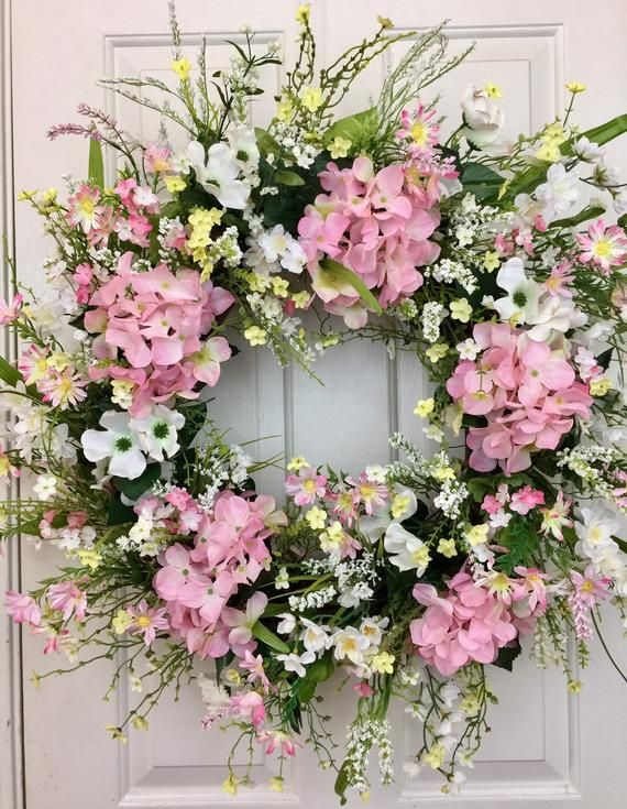 Photo of Spring pink hydrangea wreath for front door, baby shower wreath, bridal shower wreath, Easter wreath, mother's day wreath