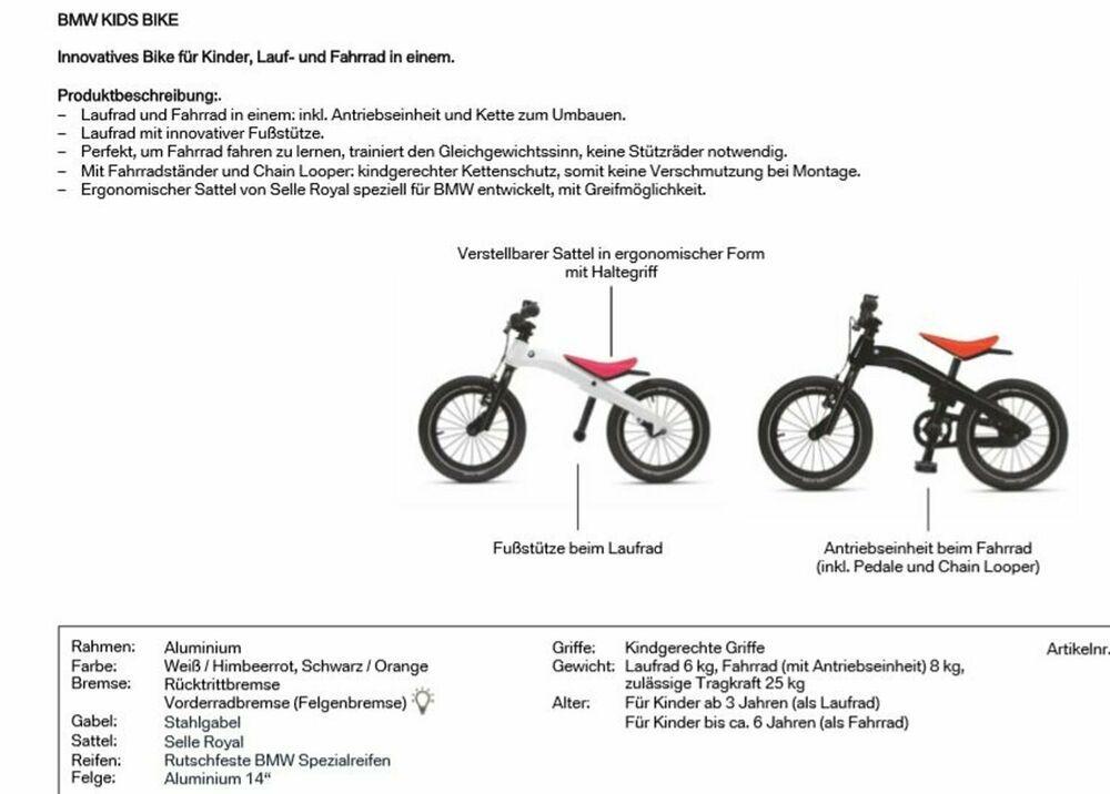 Details Zu Bmw Kidsbike Laufrad Fahrrad Kinder Cruiser 80912451007