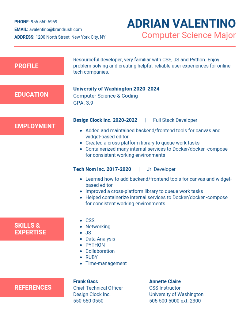 Bright Minimalist Student Resume Template Customize this