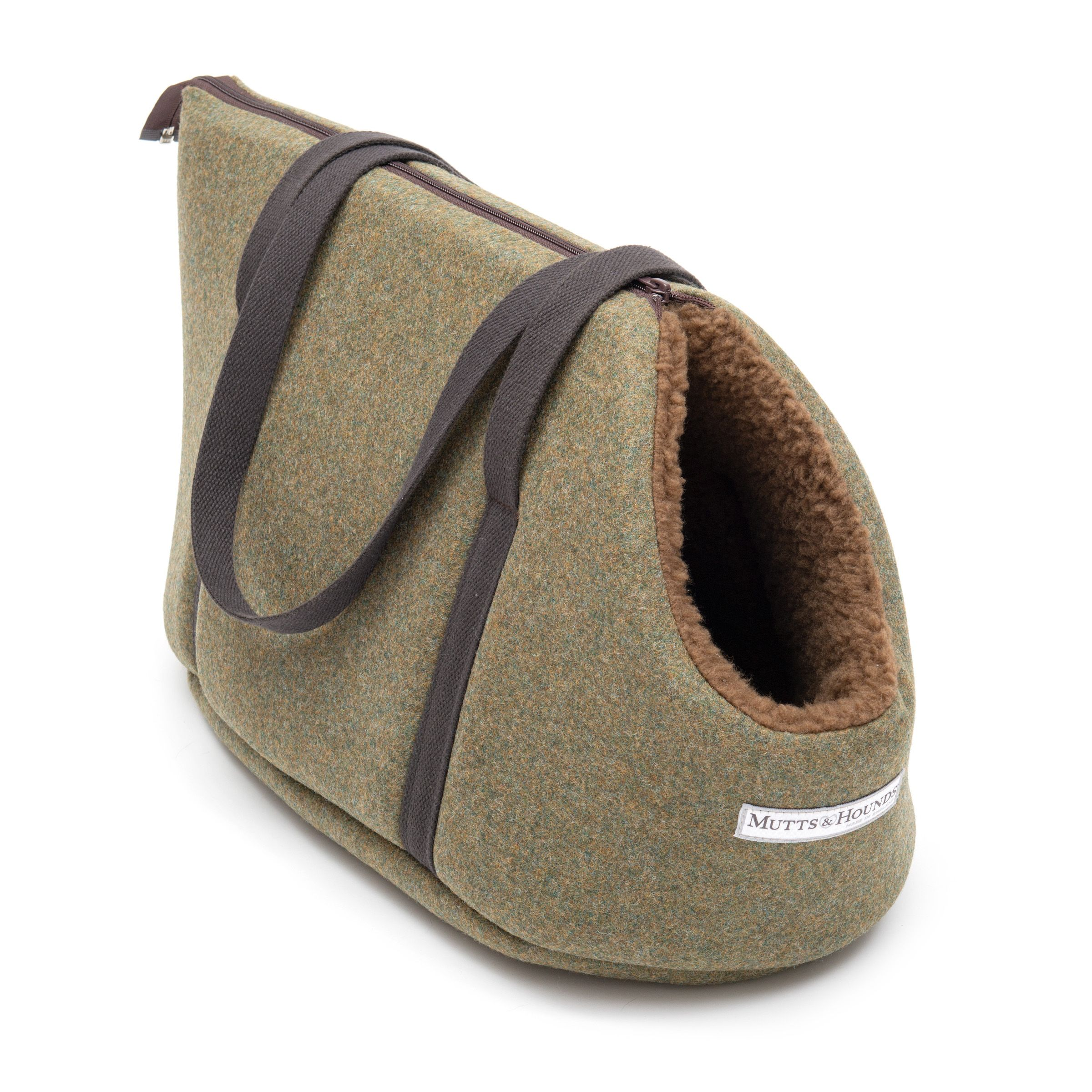 Forest Green Tweed Dog Carrier Luxury dog carrier