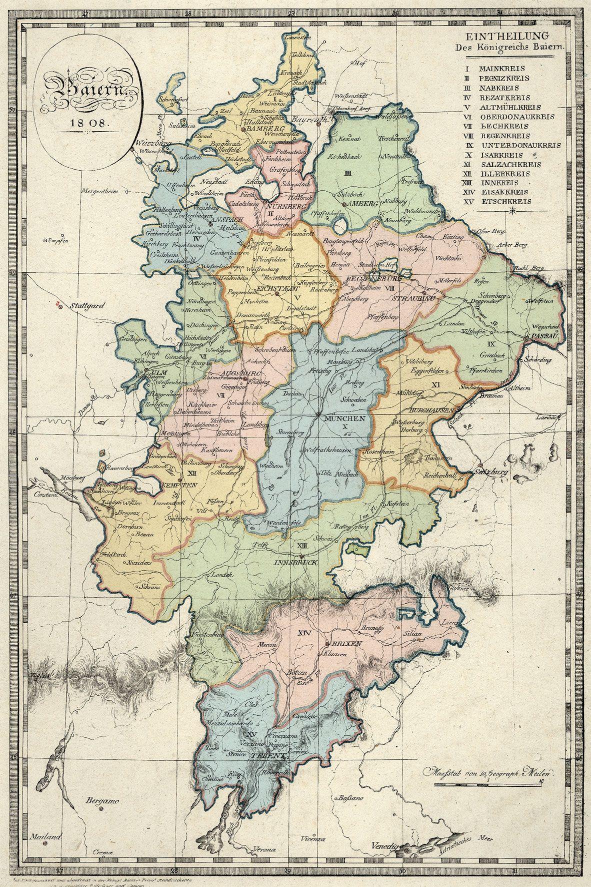 Germany Kartographie Karten Bayern
