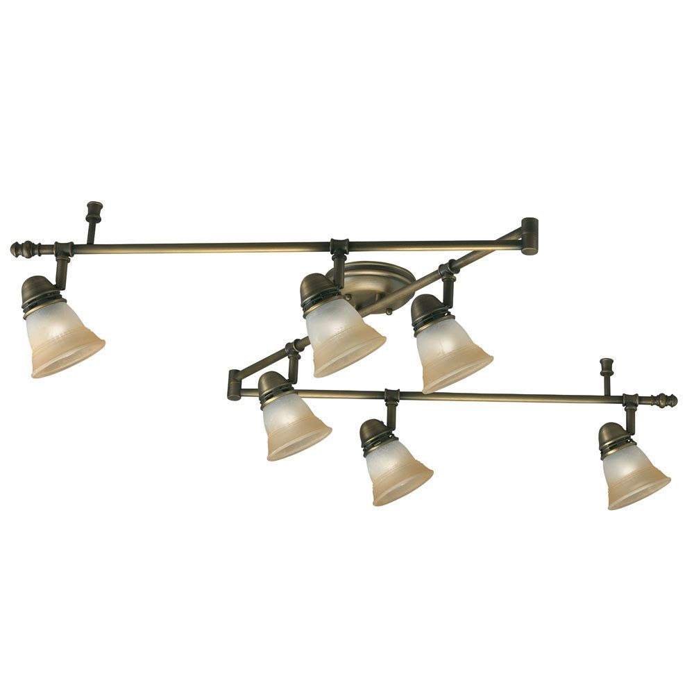 Vintage Brass Track Lighting: Transitional 6-light Antique Brass Rail Style Light