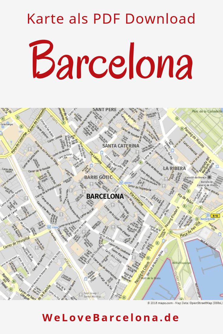Barcelona Sehenswürdigkeiten Karte.Stadtplan Für Barcelona Ausdrucken Speichern Als Pdf Detailiert