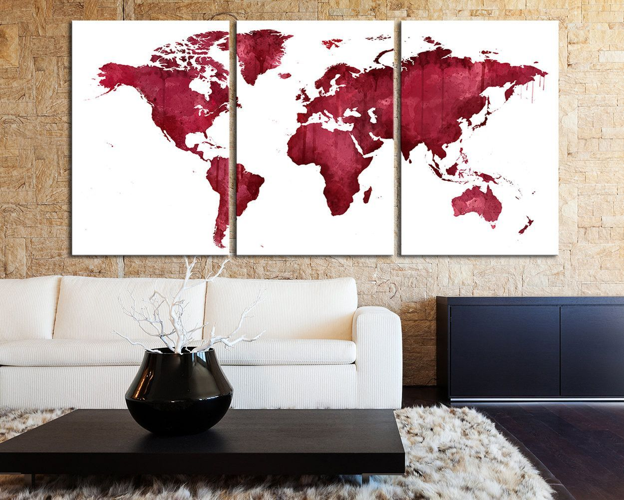 Burgundy Wall Art extra large wall art pink and burgundy world map canvas print - 3