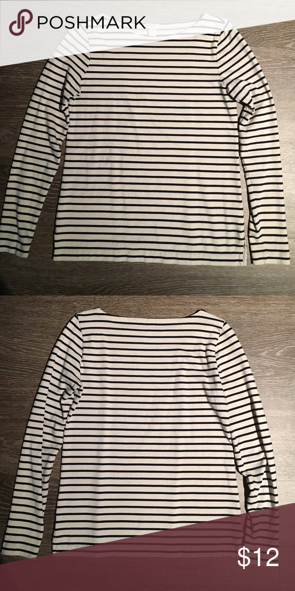 J. crew stripe long sleeve top. J. crew stripe top. Black and cream stripes. No stains, no tears and no signs of wear. J. Crew Tops