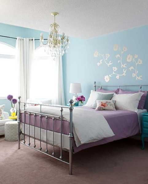 Light blue bedroom colors 22 calming bedroom decorating ideas blue wall painting and bed table with purple bedding set and white curtains something similar in color for katrinas bedroom mozeypictures Choice Image