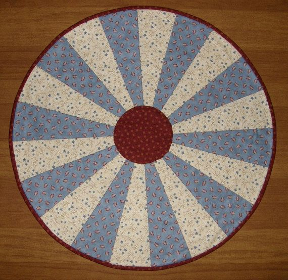 Quilted Table Topper Patriotic Americana Blue Round Table