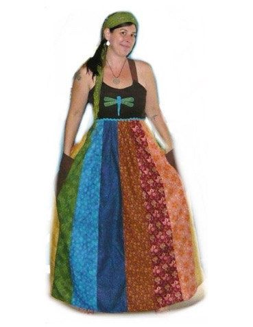 494f403bbd2 Handmade Hippie Patchwork Rainbow Maxi Spinner Dress (opptional Grateful  Dead applique) Made to order