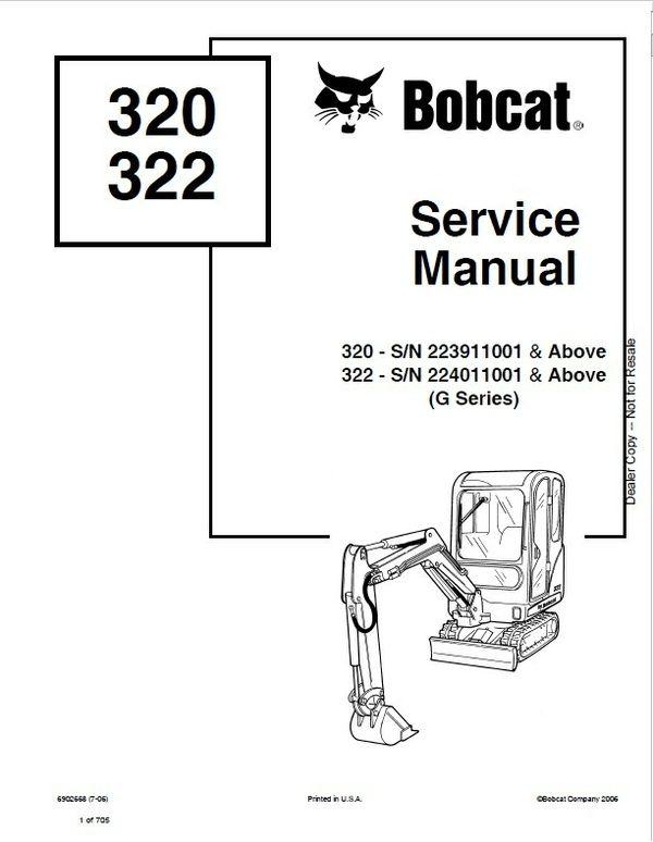 bobcat 320g 322g excavator service repair manual pdf heavy rh pinterest com used heavy equipment service manuals Heavy Equipment Parts