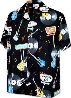 25b5d7c7 Rock and Roll Guitars Large Black Hawaiian Shirt (Made in Hawaii ...