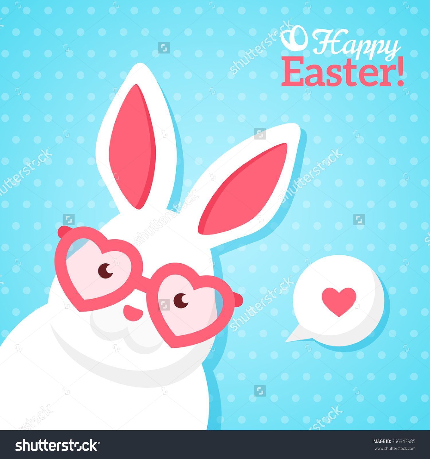 Flat square happy easter banner with white hipster rabbit in pink easter bunny kristyandbryce Choice Image