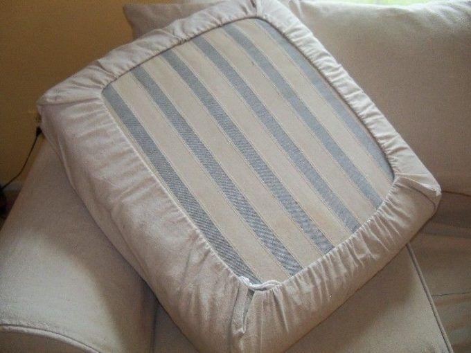 Easy Diy Drawstring Seat Cushion Cover Kovi Diy Couch Couch Cushion Covers Cushions On Sofa