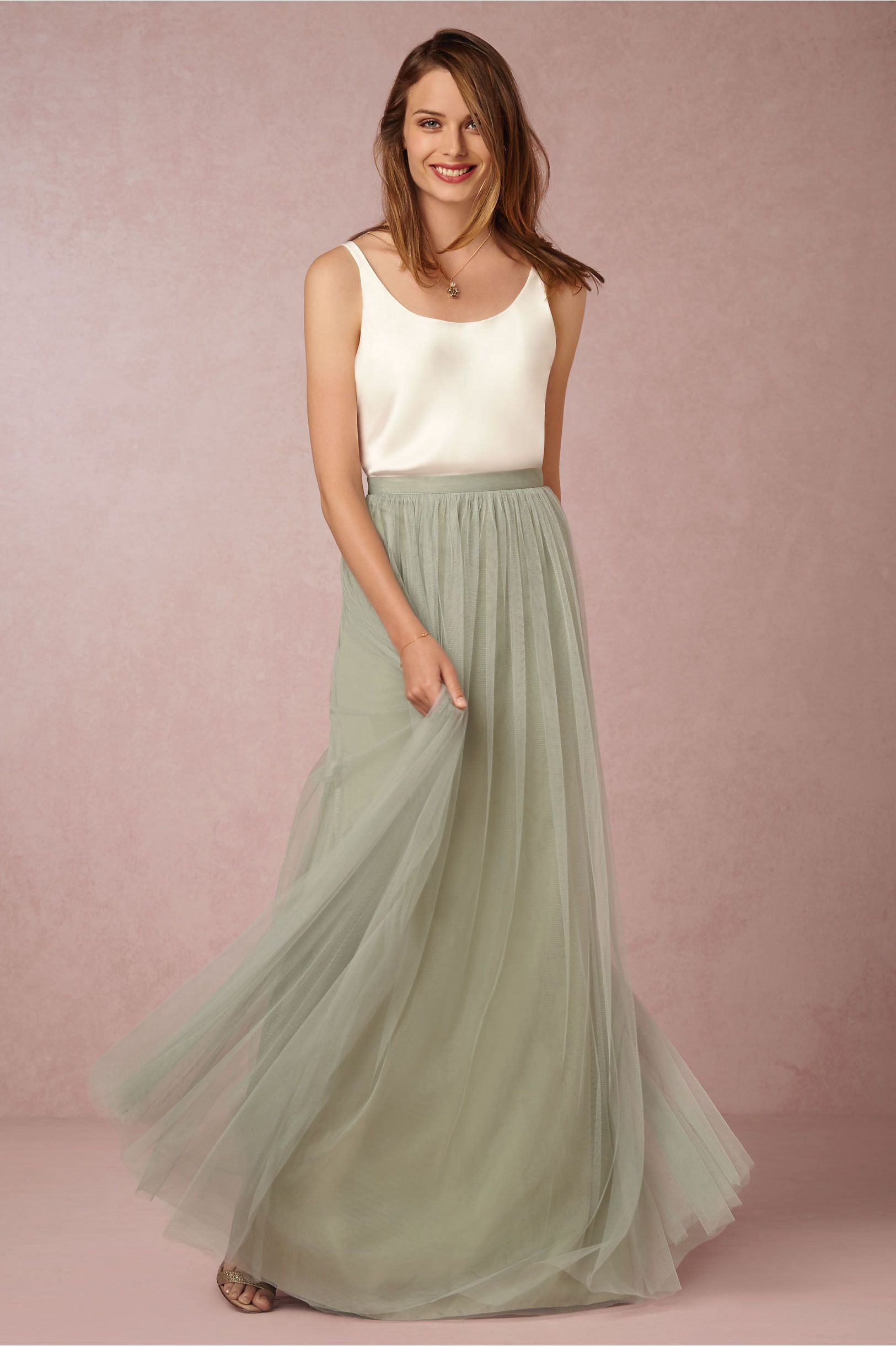 Bridesmaid maxi skirt let your maids build their own look for Wedding dresses with tulle skirts