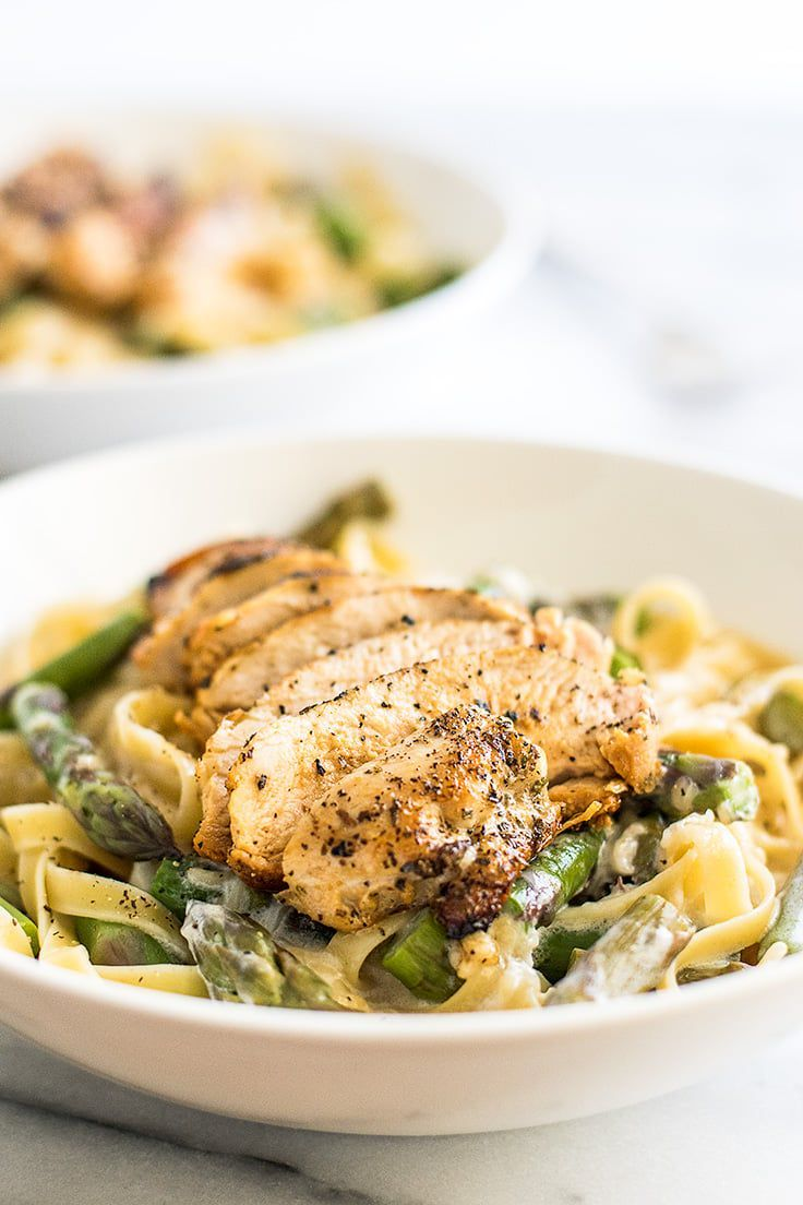 Creamy chicken and asparagus pasta dinner for two - baking m images