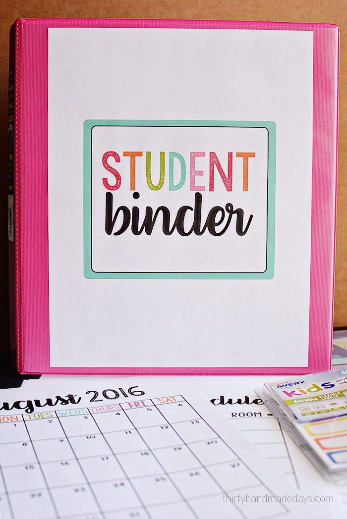 School Binder with Printables Binder, School and Student binders