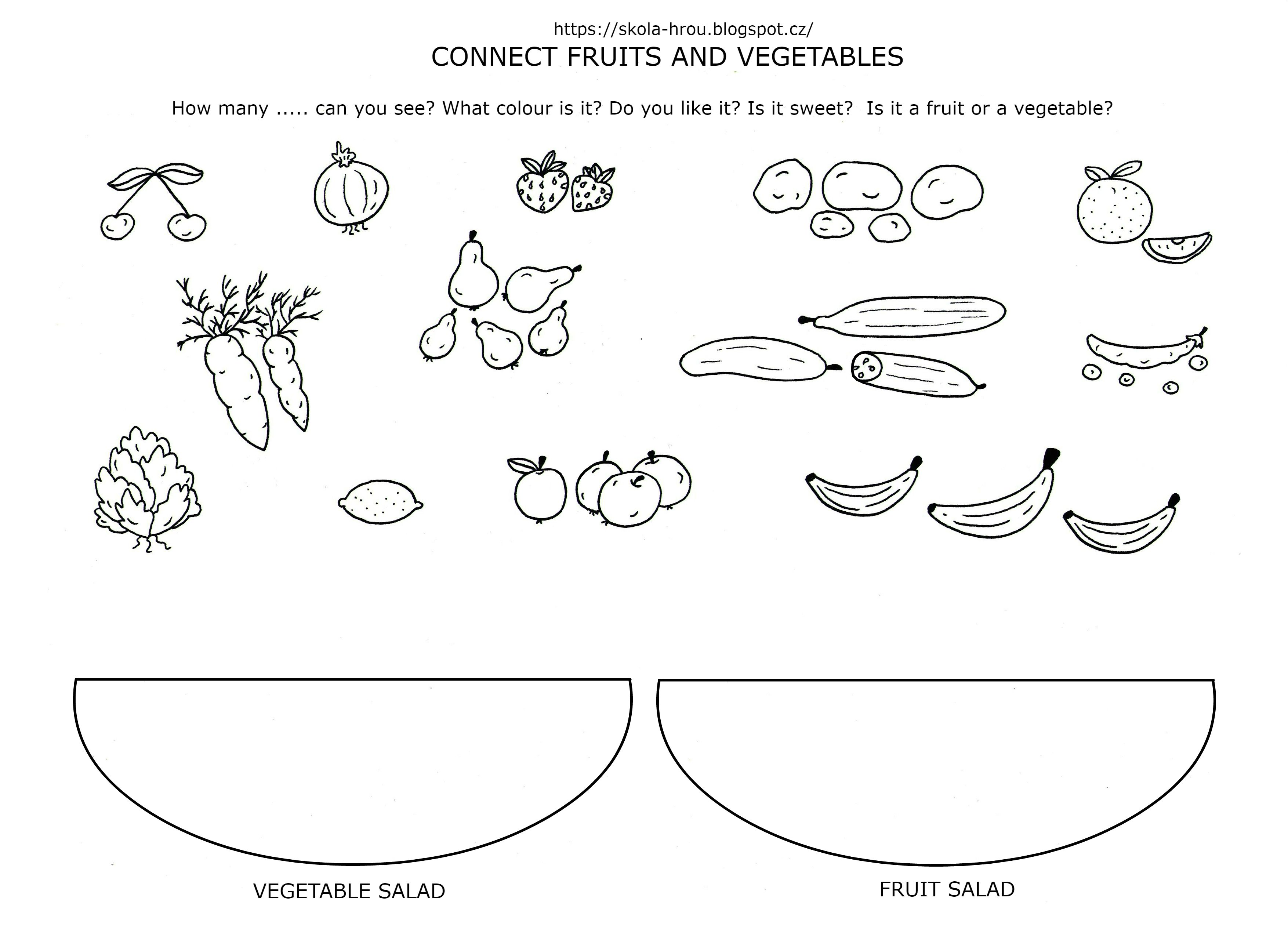Connect Fruits And Vegetables Jidlo Anglicky Ovoce A Zelenina