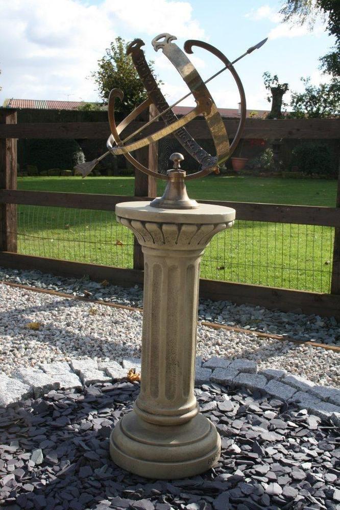Very Large Br Armillary Sphere Sundial Inc Stone Pedestal