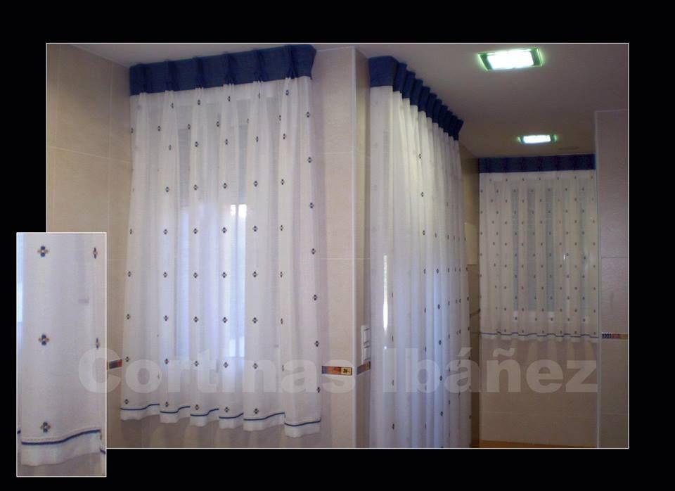 3 cortinas de cocina en visillos bordados se le ha - Cortinas con visillo ...