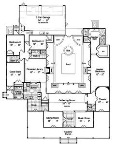Campville Country Acadian Home Pool House Plans Courtyard House Plans Luxury House Plans